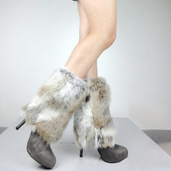 Fur Story 080102 Leg Warmers Real Rabbit Fur Womens Foot Warmer 7 Colors 23cm Length Real Rabbit Fur Leg Warmers Aromatic Flavor Women's Socks & Hosiery