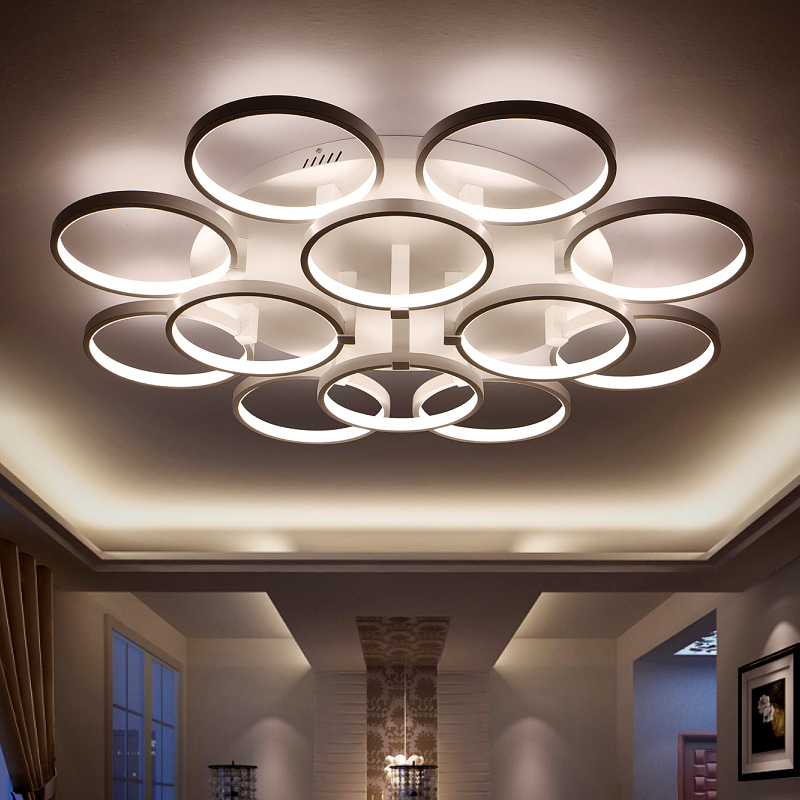 Minimalism Circel Rings Modern Led Chandelier lights lamp for living room bedroom Remote control dimming chandelier fixtures