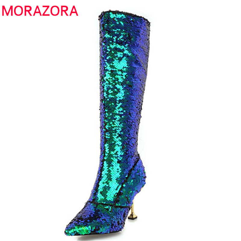MORAZORA 2018 new arrival knee high boots women pointed toe autumn winter boots sequined cloth sexy thin high heels shoes woman morazora 2018 new arrival knee high boots women pointed toe autumn winter boots sequined cloth sexy thin high heels shoes woman