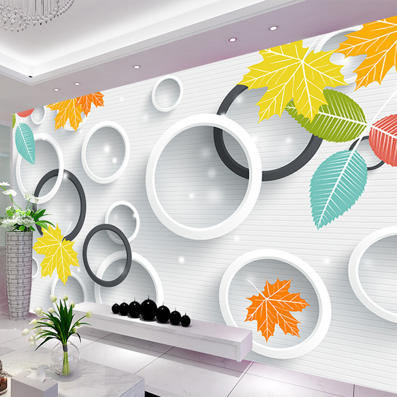 Custom 3D Photo Wallpaper 3D Circles Leaves Modern Simple Art Living Room TV Backdrop Wall Paper Mural Painting Papel De Parede custom 3d stereoscopic large mural wallpaper wall paper living room tv backdrop of chinese landscape painting style classic