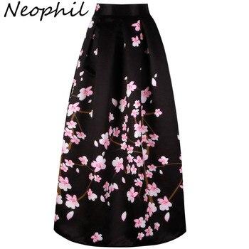 40d18ab627 Neophil 2019 Vintage Sakura flor impresión alta cintura señoras Maxi faldas  Falda las mujeres Longa Saia Falda Larga MS1021