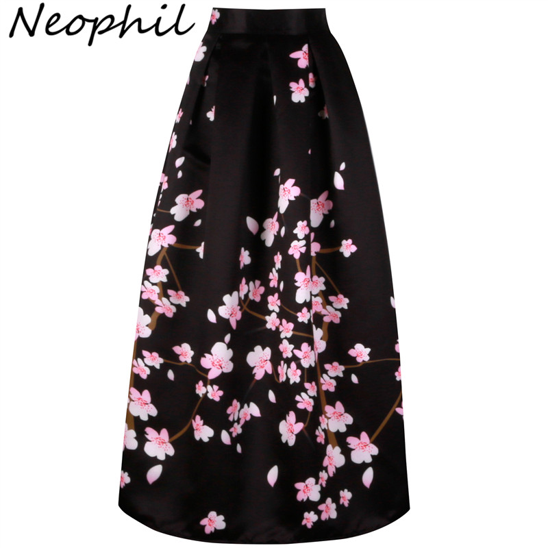 Neophil 2020 Vintage Sakura Flower Print High Waist Ladies Maxi Long Black Skirts Pleated Women Longa Saia Falda Larga MS1021