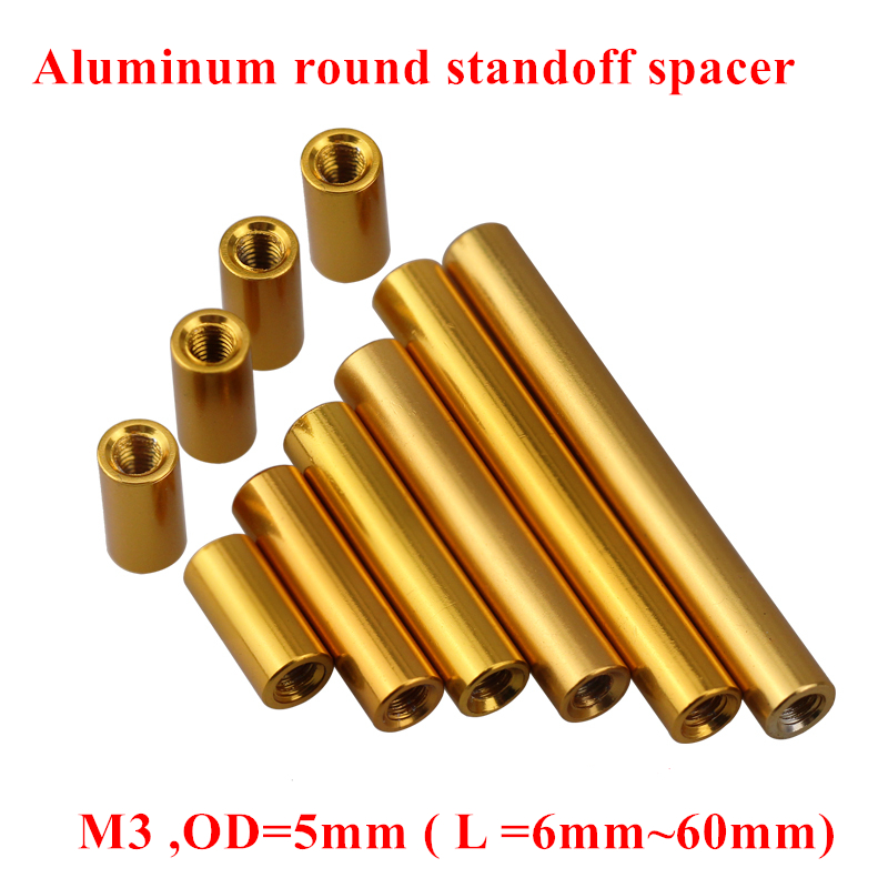 10pcs M3 Aluminum Rods Nuts M3*6/8/10/12/15/20/25/30/35/37/40/50mm round standoff spacer Spacing screw RC Parts D=5mm