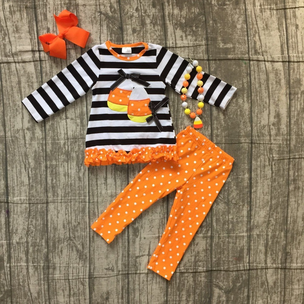 Fall/Winter outfit Halloween clothing black stripes corn embroidered long sleeves top orange white dot pant set with accessories
