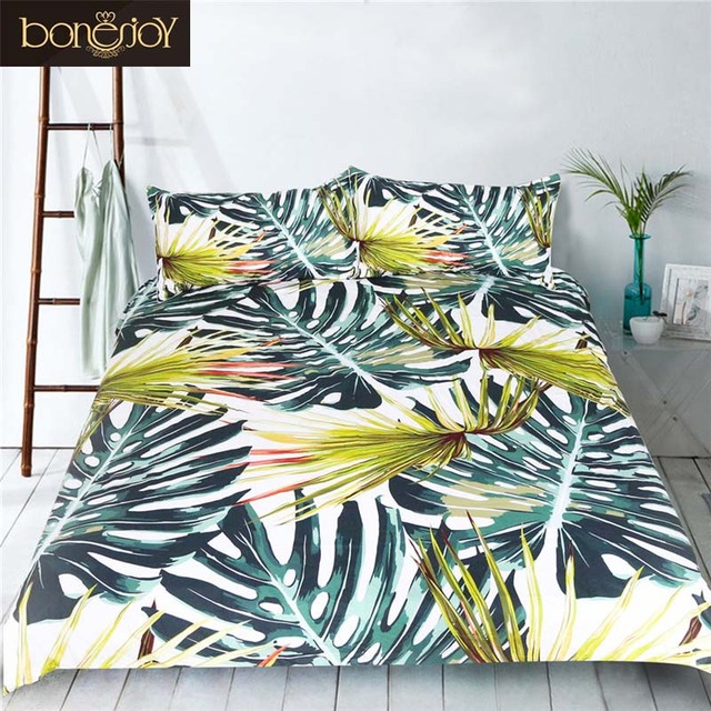 Bonenjoy Bamboo Print Bedding Set Queen King Size Luxury Duvet Cover With  Pillow Case Bed Linen