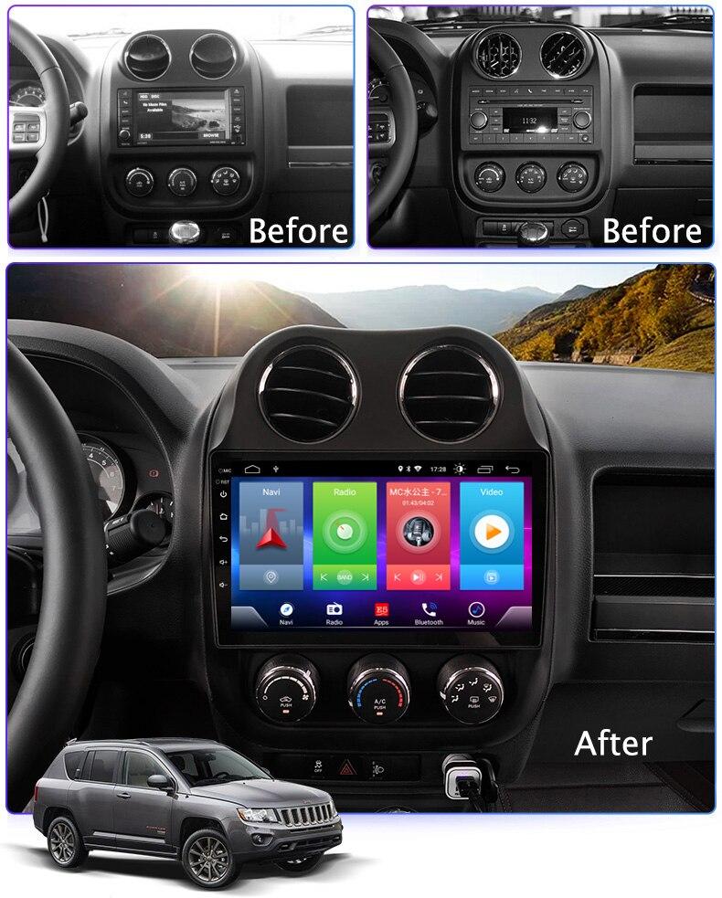 Car Android 8.1 Lettore Multimediale per JEEP Compass 2011-2016 Dispositivo di Navigazione GPS bluetooth controllo del volante di sostegno