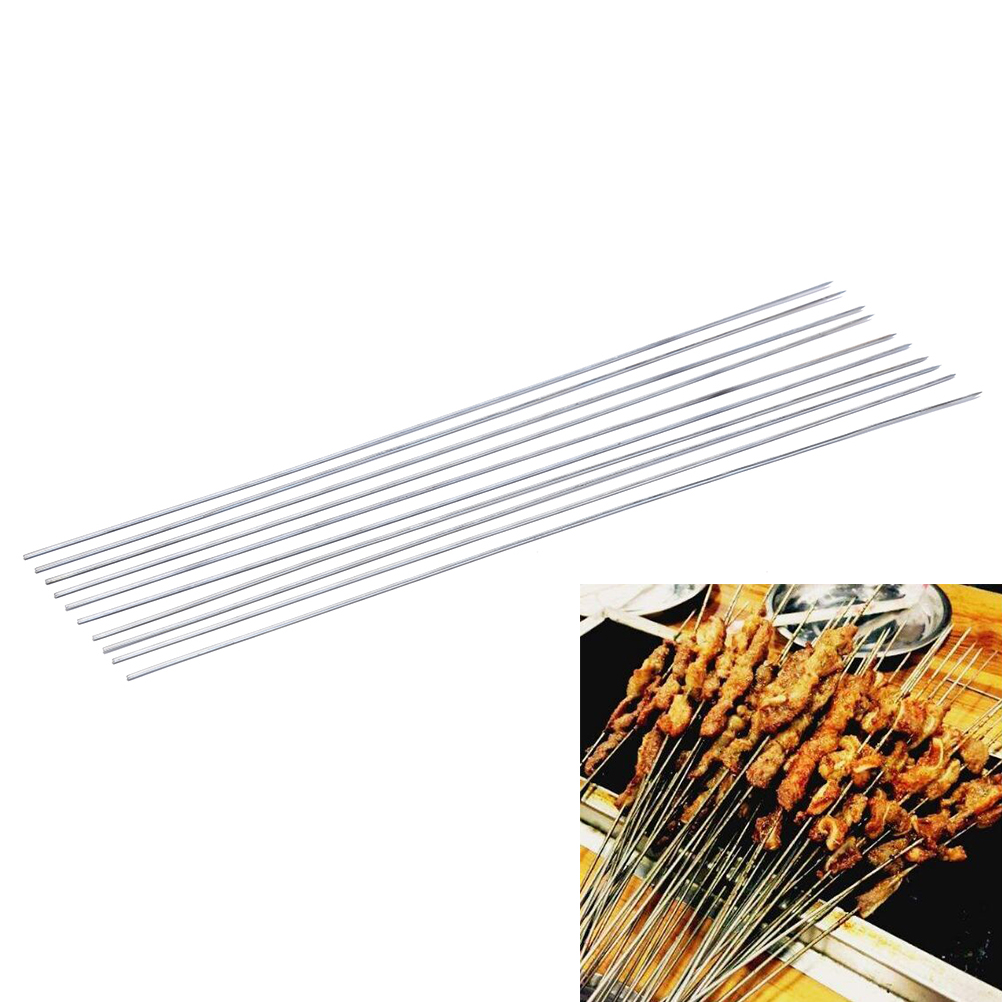 10Pcs/lot Stainless Steel Barbecue Grilling Silver Tools BBQ Needles Sticks Skewers