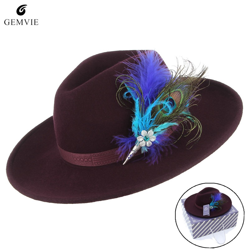 Femmes Feutrés chapeaux de feutre en laine Rétro casquette de jazz Classique Solide Couleur Large Bord chapeau de cowboy Mode Tout-Allumette Sunhat Avec Plume