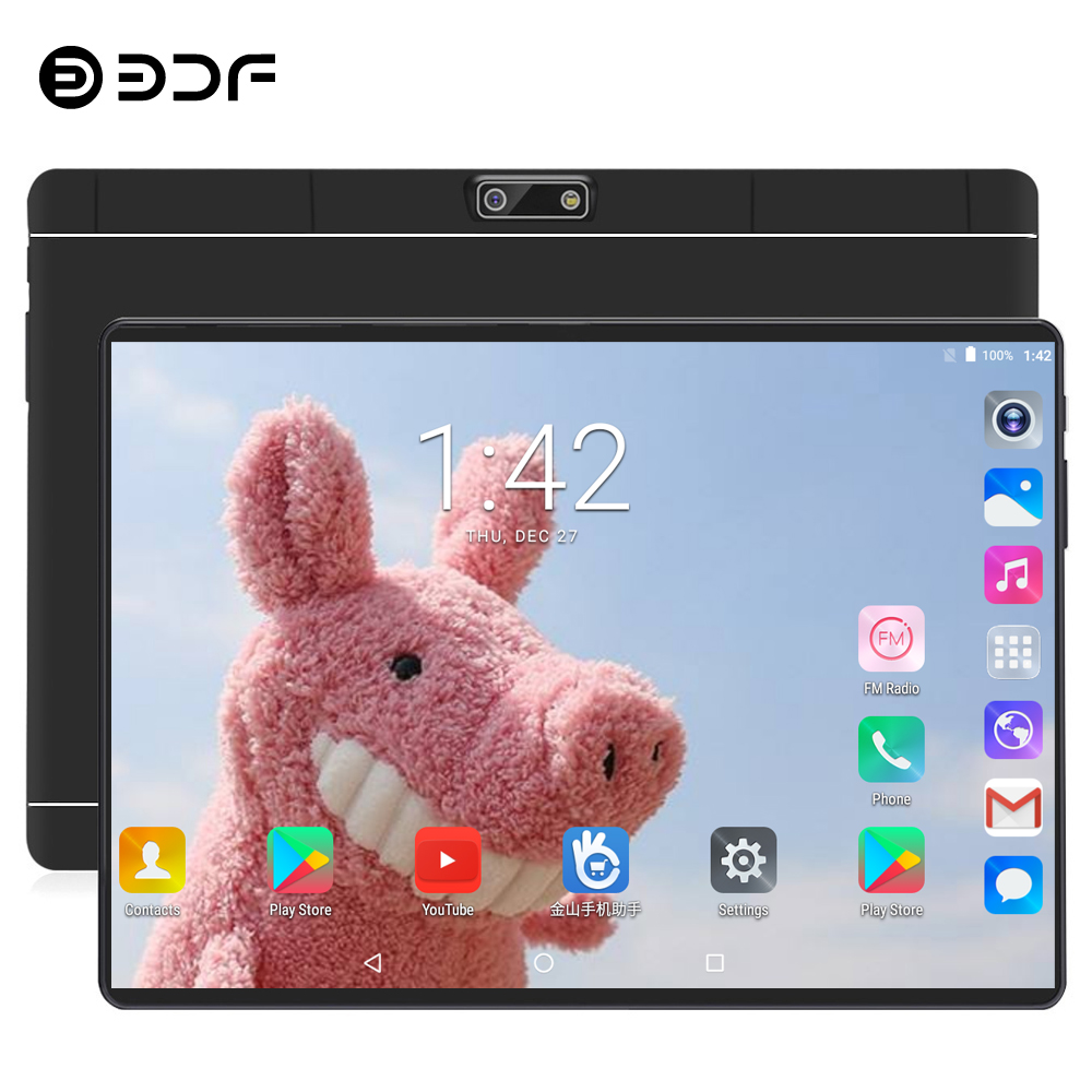 BDF 10 Inch 4G LTE Phone Call Tablet Android 7.0 Octa Core 4G+64G Tablets Pc Built-in Dual SIM Card Laptop WiFi Bluetooth FM Tab