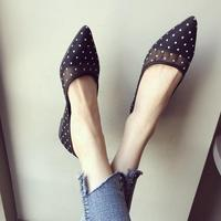 Lace Casual Polka Dot Pointed Toe Fashion Summer 2019 New Women's Shoes Large Size 35 41 Mesh Point Toe Flat Ladies Shoes