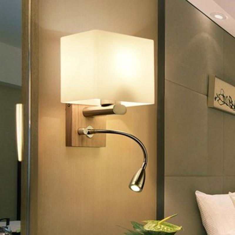 LukLoy Nordic Modern Sconce Glass LED Wall Lamps Stairs Wooden LED Wall Light Bedroom Living Room Aisle Home Wall Lighting Hall шнур каменщика stabila красно белый 1 7 мм х 50 м 40465