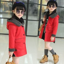 Kids Clothes Suede Coat For Girls Autumn Hooded Long  Coats Girls Outerwear Inside With Velvet Girls Clothing3-12Y 4