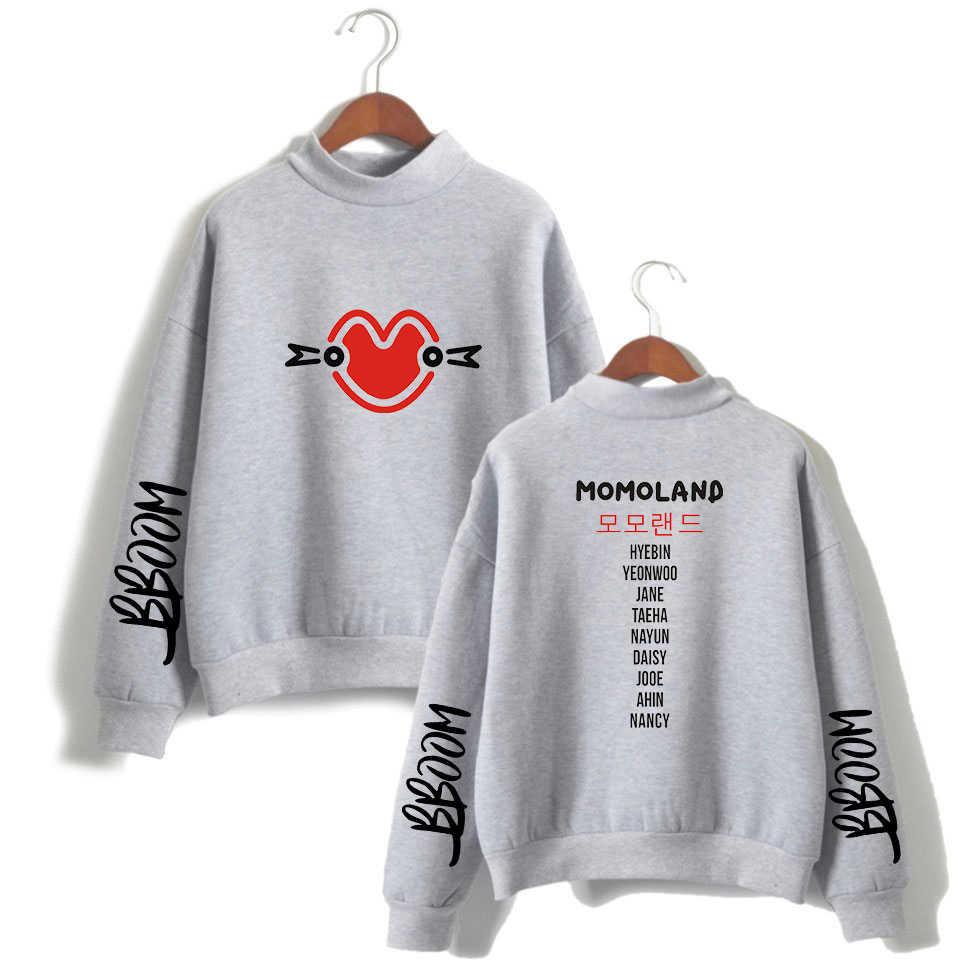 NEW fashion   MOMOLAND Print Women/Men Clothes 2018 Hot Sale Turtlenecks Women Long Sleeve Casual Kpops Sweatshirts Plus Size