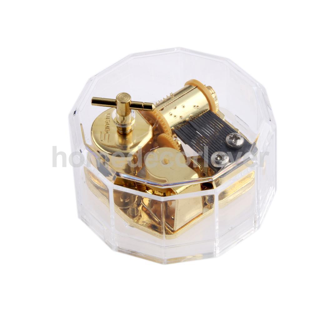 Acrylic Dodecagon Shape Clockwork Music Box Melody Play Box Kids Christmas Gift