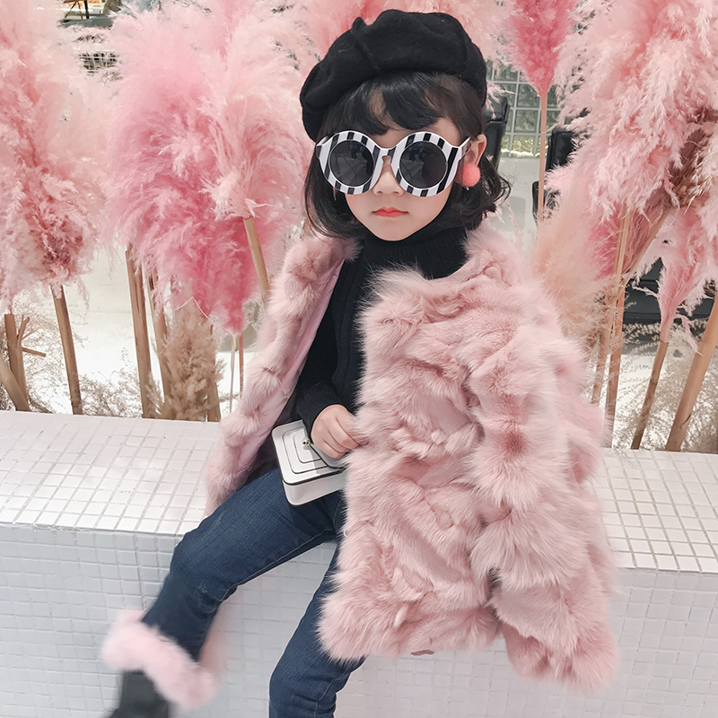 Children Real Crystal Fox Fur Coat 2018 New Autumn Winter Girls Boys Natural Fur Coat Clothing Warm Kids Thicken Jacket 5 colors 2017 new long fur coat parka winter jacket women corduroy big real raccoon fur collar warm natural fox fur liner