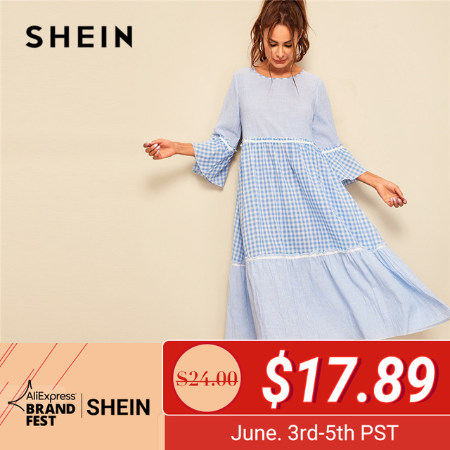 80a251afa6 SHEIN Frill Trim Gingham Striped Print Women Dress Spring Three Quarter  Length Sleeve A Line Maxi Dress Round Neck Loose Dreess