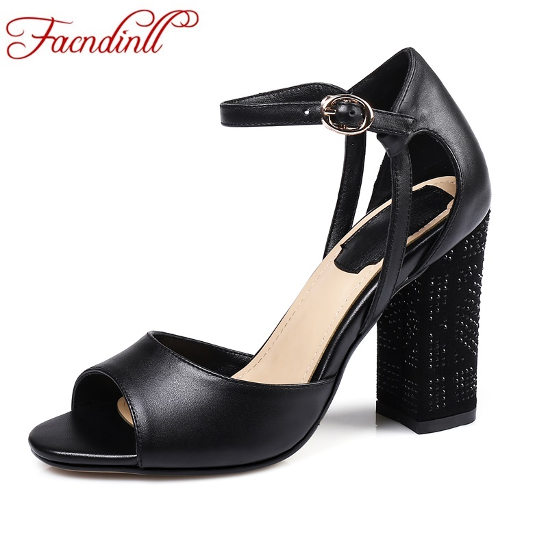 FACNDINLL new genuine leather women gladiator sandals fashion sexy high heels peep toe shoes woman dress party office lady shoes facndinll genuine leather sandals for