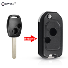 KEYYOU Modified Remote 2/3/4 Button Flip Car Key Shell Case For Honda Accord Civic CRV Pilot 2007 2008 2009 2010 2011 2012 2013