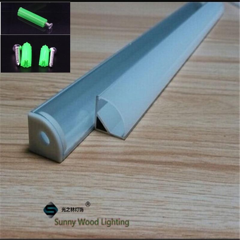 Image 5 - 2 30pcs/lot 0.5m/pc 45 degree corner aluminum profile for 5050,3528  led strip,milky/transparent cover bar channel for 10mm pcb-in LED Bar Lights from Lights & Lighting