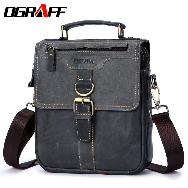 OGRAFF Men Bag Man Hand Bags Genuine Leather Shoulder Bag Small Leather Handbags Crossbody Messenger Bag Men Leather Tote Crazy ograff men handbags briefcase laptop tote bag genuine leather bag men messenger bags business leather shoulder crossbody bag men