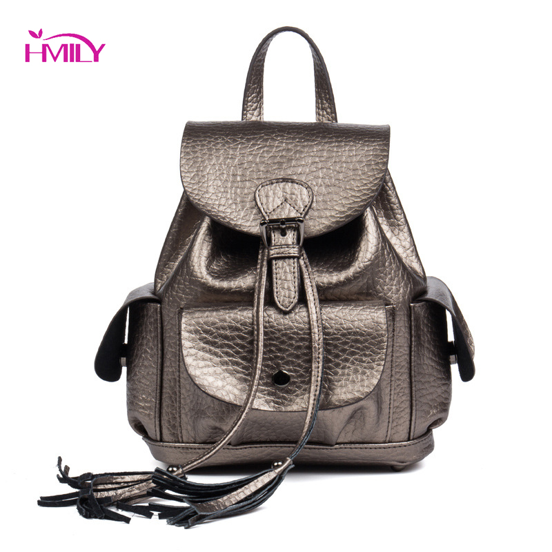 HMILY Backpack Female Genuine Leather Women Bag Fashion Classic Cover Soft Shoulder Bag High Quality Cow Skin Ladies Travel Bag cow genuine leather backpack female leisure style school bag ladies high quality leather daily bag women soft travel bag n140