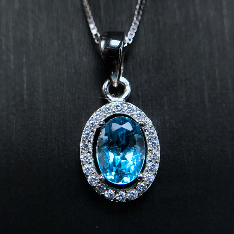 1 Carat Natural Topaz Pendant Special Wholesale New Product Special 925 Silver Chain