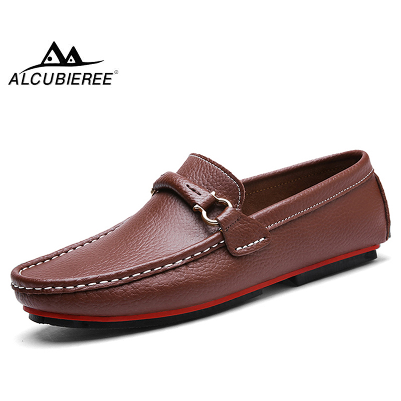 ALCUBIEREE Brand   Leather   Loafers Luxury Driving Shoes Mens Autumn Casual Flat Moccasin Fashion Boat Shoes Slip on Male Moccasins
