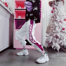 MISSMEOW reflective pants sports for women High Waist womens summer Loose Hip Hop Casual trousers