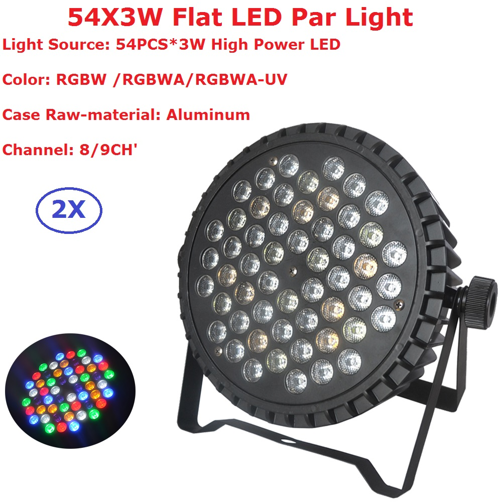Aluminum Shell 54X3W RGBW Led Par Light DMX Stage Lights Business Lights Professional Flat Par Can For Party KTV Disco DJ Lamp free shipping 54x3w flat led par light rgbw best quality par can dmx512 disco dj home party ktv led stage effect projector
