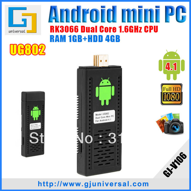 New Hotselling Mini PC UG802 real Dual Core Android tv box RK3066 1.6GHz Cortex-A9 MK802 III Android 4.1.1 IPTV HDMI wifi dongle