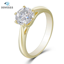 DovEggs 14K 585 Yellow Gold Solitaire Ring 1ct Carat 6.5mm F Color Moissanite Diamond Engagement Rings For Women Wedding
