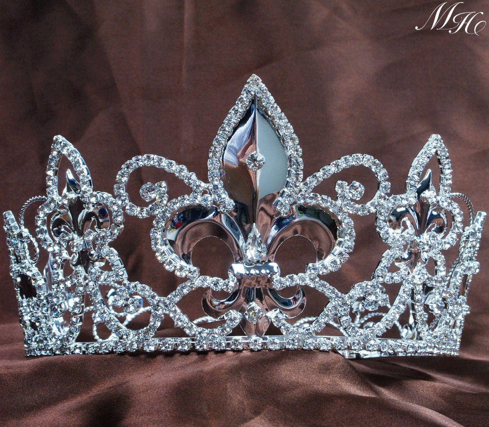 Crowns full circle round tiaras rhinestones crystal wedding bridal - Imperial Medieval Unisex Fleur De Lis King Queen Crowns Full Round Tiaras Silver Plated Wedding Bridal Pageant Costumes Party