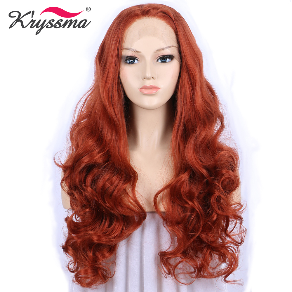 Copper Red Orange Wig Synthetic Lace Front Wig Long Wavy Wigs for Women Free Part High
