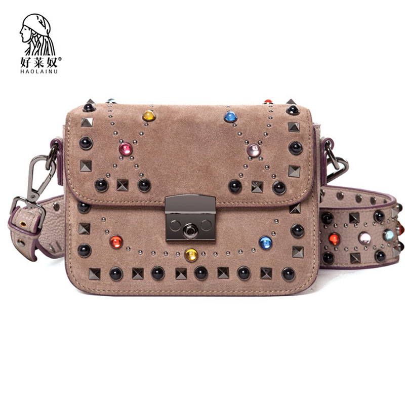 Haolainu Crossbody Bags for Women Messenger Bags 2018 Vintage Leather Bags Handbags Women Famous Brand Rivet Small Shoulder Sac vintage pu leather bags crossbody bags for women messenger bags handbags women famous brand rivet belt buckle small shoulder sac