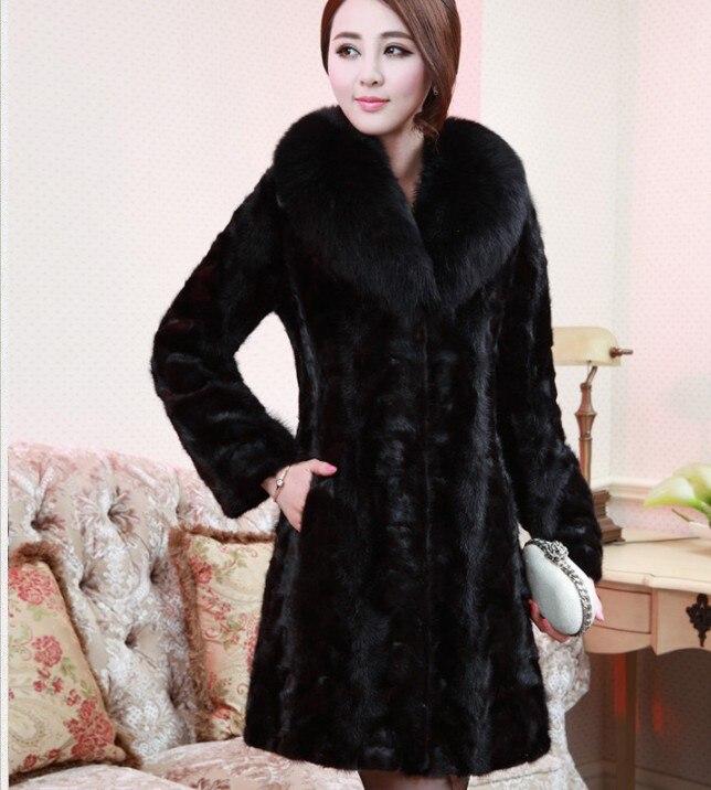 Avec Moelleux Vetement De La Faux Manteau Bordure Furry Outwear Plus 2019 Fourrure Long Mince Femmes En Aw323 Col Taille Sauvage Vison rCexBod