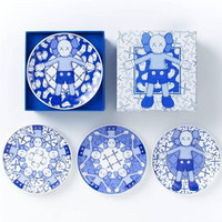 (Set of 4) Kaws Holiday Limited Ceramic Plate Blue/White Sesame Street BRIAN BFF OriginalFake Collect Morden Gift M88