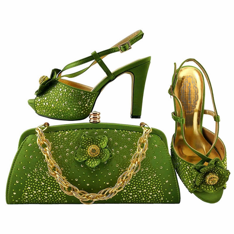 Lemon green Italian Design Shoes and Bag To Matching African Shoes and Bag Set For Party Nigerian Women Fashion Shoes and Bag lemon design chain bag