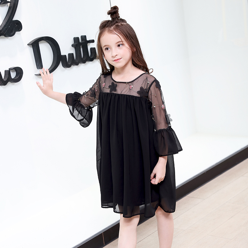 Teen Girls Dresses 2018 Summer Party Kids Floral Clothes 5 6 8 9 10 12 13 14 Years Girl Party Dress Tulle Beading Black Dress new girls bohemia children dresses summer beach dress floral v neck sleeveless dress jumpsuits maxi dress 4 6 8 10 12 14 years