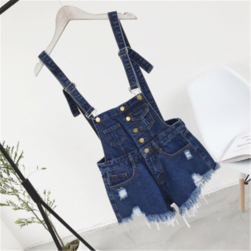The new college wind denim strap shorts female summer hole loose Korean students was thin sling tide (10)