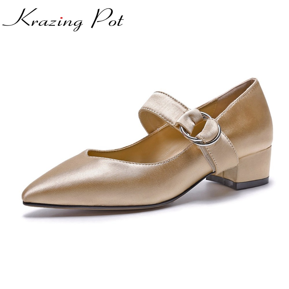 KRAZING POT silk sheep skin brand shoes thick low heels women pointed toe pumps metal decoration autumn office lady shoes L22 krazing pot shallow sheep suede metal buckle thick high heels pointed toe pumps princess style solid office lady work shoes l05