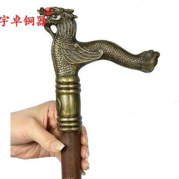 Yu Zhuo brass copper copper cane crutches leading Shoutou crutch too pure hand crutch gift