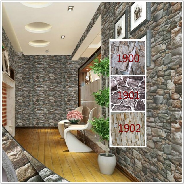 Self Adhesive 3d Wallpaper Modern Vintage Stone Pattern Paper Wall