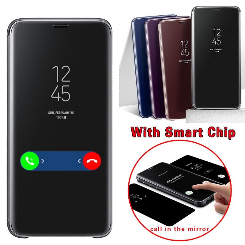 Pour Samsung S9 Cas De Luxe puce intelligente Clair Miroir Voir Fenêtre couverture de protection pour Samsung Galaxy S9 Plus Flip Cas Capa Funda