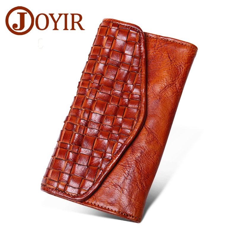 купить Genuine Leather Women Long wallets purse fashion Knitting Hasp clutch wallet money coin holder leather handbag female wallets недорого