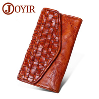 Genuine Leather Women Long wallets purse fashion Knitting Hasp clutch wallet money coin holder leather handbag female wallets