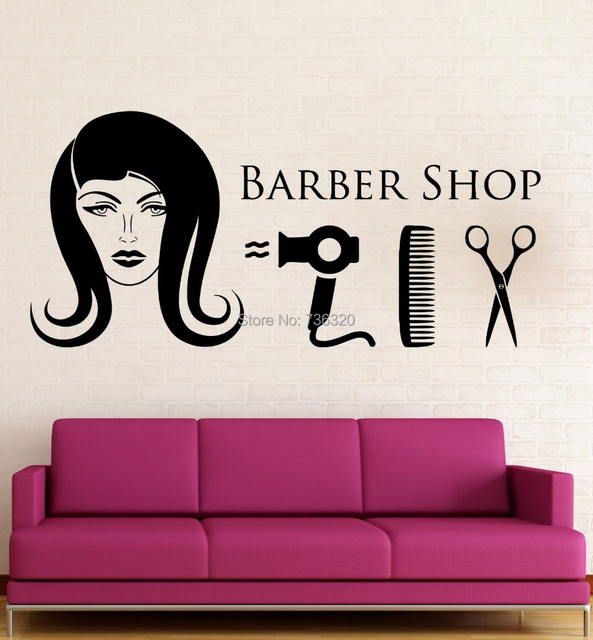 Barber shop wall stickers hair beauty salon hairdresser - Stickers deco salon ...