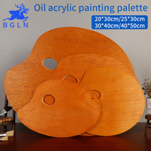 цена на BGLN 1Piece Wooden Walnut Color Oval Oil Painting Palette Professional Oil Acrylic Paint Drawing Palette Paleta Art Supplies