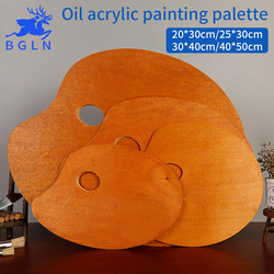 BGLN 1Piece Wooden Walnut Color Oval Oil Painting Palette Professional Oil Acrylic Paint Drawing Palette Paleta Art Supplies