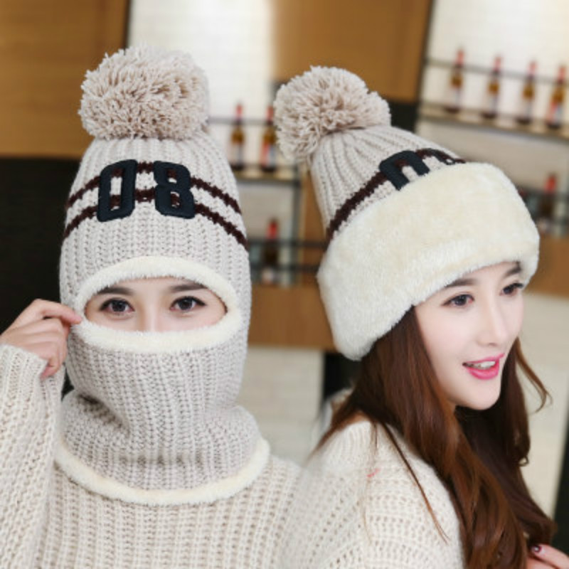 d8d10a6cce7 2018 Knit Cap Scarf Cap Two piece Winter Hats for Women Fur Winter Beanie  Fleece Hat Balaclava with Neckwa Rmer-in Skullies   Beanies from Apparel ...