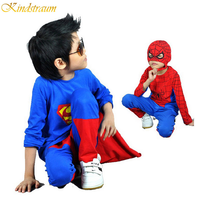 2016 NEW retail spiderman & superman kids clothing sets children fashion cartoon summer shirt + pants boys tees pants suit, C146